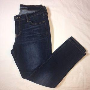 Dark wash jeans, short length